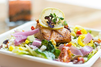 house salad with salmon from kardia cafe