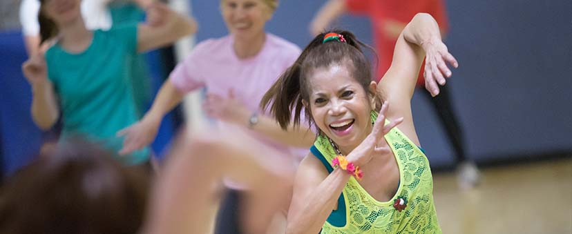 Zumba instructor teaching a class