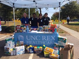 Volunteers collecting Hurricane donations for the NC Food Bank
