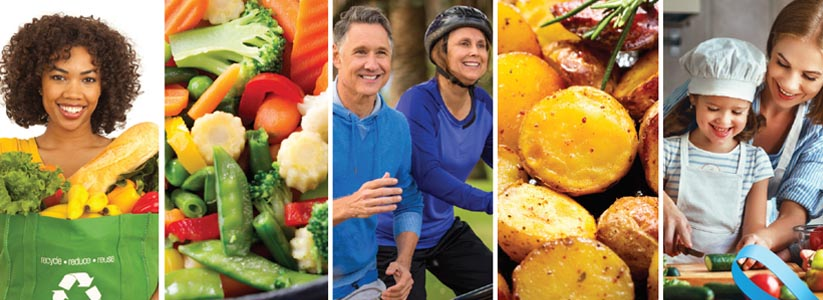 collage of images with healthy food, active individuals